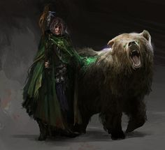 "RPG Brainstorming : thedurrrrian: Concept work done for ""The Roots... Druid and his bear"