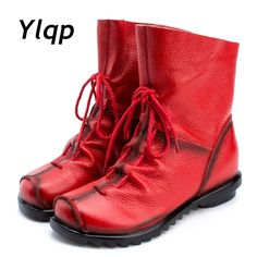 972f2b7143d Vintage Style Genuine Leather Women Boots Flat Booties Soft Cowhide Women s  Shoes Front Zip Ankle Boots