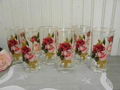 Set of 6 Vintage Pink Rose Drinking Glasses