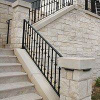 Porch and Patio Railings Outdoor Railings, Exterior Stair Railing, Deck Railing Design, Porch Railings, Iron Stair Railing, Patio Ideas, Outdoor Living, Home, Outdoor Life