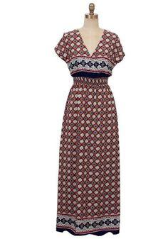 Moroccan Nights Print Maxi Dress - Navy + Multi