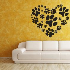 Love Your Pet Heart of Paw Prints  Vinyl Wall by VinylWallAccents, $32.00.  This should be in my dogs room - the laundry rm