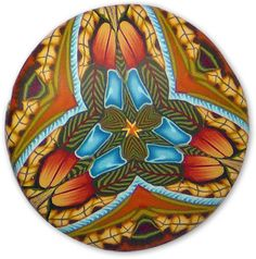 Using a color palette derived from Korean embroideries, Carol Simmons created this series of kaleidoscope pendants. She assembled five graduated-sized beads from the series into a necklace which won first prize in the Bead Dreams polymer clay c [...]