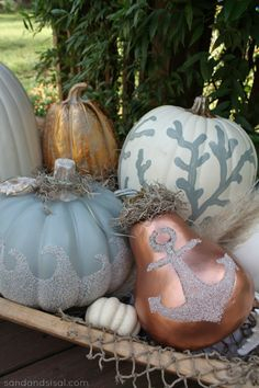 Coastal Pumpkins - using Mod Podge & craft sand (click pic for tutorial and more coastal pumpkin ideas.) via @- SAND - and Sisal