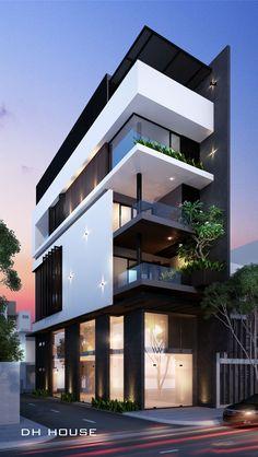 Minimalist House 85 Design: Pin De Anand S En Building Plan Minimalist House Design, Modern House Design, Facade Design, Exterior Design, House Front Design, Dream House Exterior, Facade Architecture, Facade House, Modern Exterior