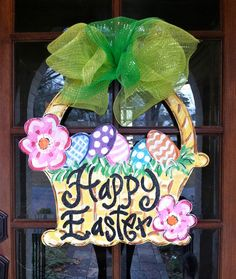 Easter Basket Door Hanger by BronwynHanahanArt on Etsy, $45.00