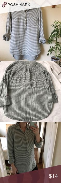Half button Tunic green and grey stripes His feels like your wearing two shirts. Super soft cozy roll the sleeves up or down. So perfect for fall! Throw it on with leggings and booties! Merona Tops Tunics