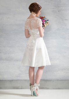 Horse-Drawn Marriage Fit and Flare Dress in White. After exchanging I dos in this white midi from Bettie Page by Heart of Haute, you sashay with your amour to the charming carriage that awaits! #white #bride #modcloth