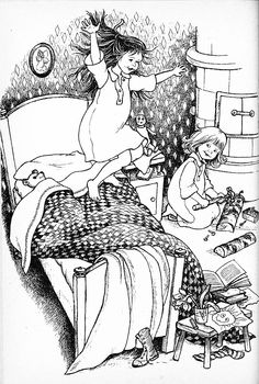 Nordic Thoughts: Madicken and Lisabet by Ilon Wikland Children's Book Illustration, Book Illustrations, Art Template, Black And White Drawing, Children's Literature, Hand Embroidery Designs, Vintage Children, Childrens Books, Coloring Books