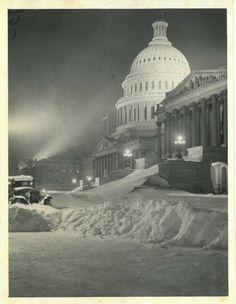 Capitol Building after an epic snowstorm, Washington D.C. 1920s