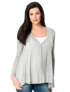 THREE DOTS Long Sleeve V-neck Button Front Maternity Cardigan