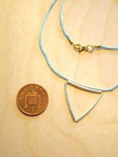 Silk And Sterling Silver Triangle Pendant Necklace