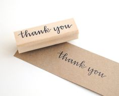 """A simple """"thank you"""" stamp is perfect for stationery, scrapbooking, and DIY weddings. By EmDashPaperCo on Etsy."""