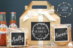 Our personalized gable boxes are ready to fill with special gifts and goodies for your out of town guests. What a great way to greet your tired travelers. Fill with homemade goodies, snacks, waters and treats along with local maps and even wedding itinerary. WHAT YOU WILL RECEIVE: 6 - gable gift boxes in color of your choice in either 8X5X5 inch or 9X6X6 inch. These dimensions are the size of the fillable space, the handle is not included in these measurements. 6 - 3.5 inch personalized…