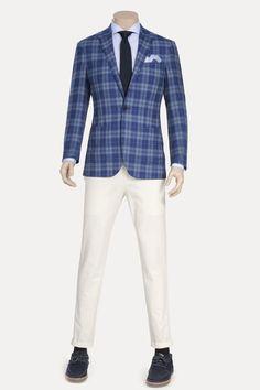 Blue Plaid Casual Blazer ID-830
