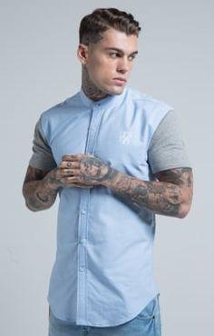 SikSilk Grandad Collar Fitted Shirt - Pale Blue