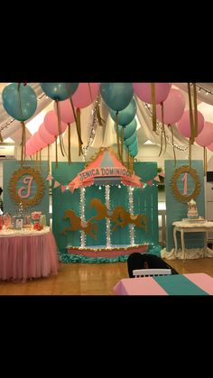 jenica dominique's carousel themed party by langga of partyholics Carousel Birthday Parties, Carousel Party, Girl Birthday Themes, 10th Birthday Parties, Little Girl Birthday, Carnival Birthday, Circus Party, Horse Party Decorations, Baby Shower Decorations