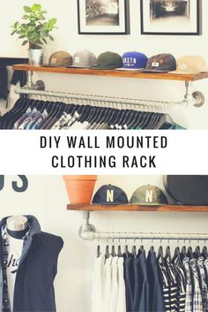DIY Wall Mounted Clothing Rack with Top Shelf #KeeKlamp #DIY #clothingrack #pipefurniture