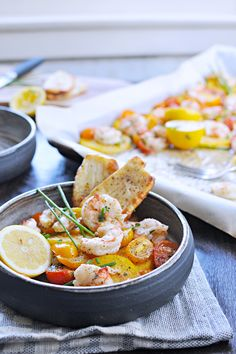 Roasted One-Pan Shrimp + Polenta with Halloumi or Pancetta Crisps (via ...