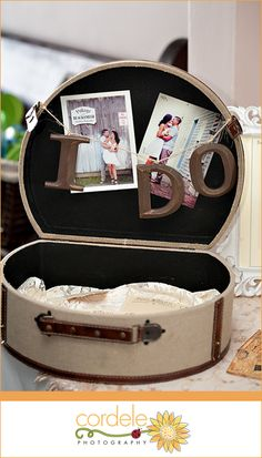 Vintage suitcase wedding detail