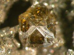Stottite,  Fe++Ge(OH)6,  Tsumeb Mine, Tsumeb, Otjikoto Region, Namibia. Fov 2 mm. Tetragonal crystal of stottite. Copyright © Brent Thorne 2009