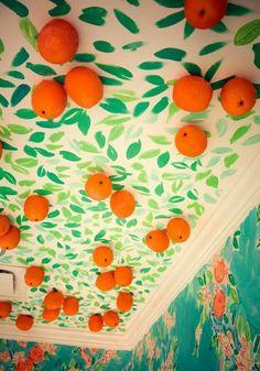 Make an orange or lemon tree painting with felt balls