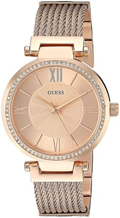 f5fa8ef23 Amazon.com: GUESS Women's U0638L4 Rose Gold-Tone Wired Bracelet with  Self-Ajustable Links: Watches