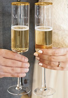 Bride & Groom Toasting Flutes - The bride and groom's toasting flutes are an essential head wedding table decoration. Used throughout the wedding reception and a wedding day keepsake that can be used Head Table Wedding Decorations, Head Table Decor, Head Tables, Wedding Champagne Flutes, Wedding Glasses, Engraved Champagne Flutes, Wedding Gifts For Bride And Groom, Gifts For Wedding Party, Bride Groom