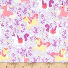 Michael Miller Unicorn Princess Unicorn Frolic Opal from @fabricdotcom  Designed for Michael Miller, this cotton print fabric is perfect for quilting, apparel and home decor accents. Colors include shades of pink, yellow, purple, and white.