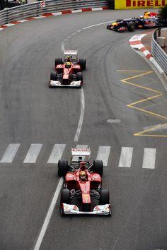 Fernando Alonso leads Felipe Massa and Sebastian Vettel, Monaco Grand Prix, Monte Carlo, May 27, 2012