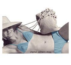 Crochet Bikini Pattern Vintage String Bikini Crochet Pattern Beach Bag Pattern Included Instant Download PDF Pattern Women S M L- C61 by DigitalPatternShop on Etsy