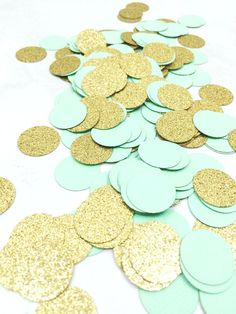 65fea94f1c7 Mint Green & Gold Glitter Confetti | Circle Confetti | Bridal Shower |  Table Decor | Wedding | Baby Shower | Small Confetti | Gold