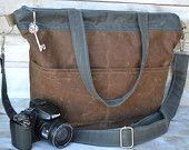 Adele, Waxed canvas camera bag  Darby Mack, vegan, big tote, photographers gear, spice brown, charcoal grey, water resistant