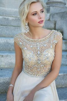 2014 Elegant Prom Dresses A-Line Scoop Beaded Bodice Floor-Length Chiffon Zipper Back