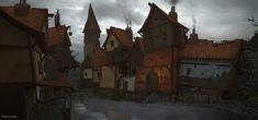 concept village medieval artstation gothic hansson stefan artwork fantasy landscape painting salvo