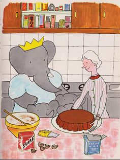 Vintage 1963 Babar Storybook Illustration Celeste Pom Flora Alexander and The Old Lady Bake a Cake. As Aventuras De Babar, Children's Book Illustration, Food Illustrations, Linocut Prints, Vintage Children, Childhood Memories, Just In Case, Childrens Books, Book Art