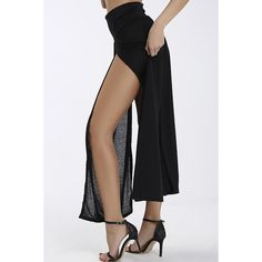 Yoins Black Retro Front Slit Sexy Beach Skirt ($20) ❤ liked on Polyvore featuring skirts, black, maxi skirt, sexy maxi skirt, high-waisted maxi skirt, beach skirt and high-waist skirt