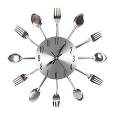 AmazonSmile - Ohuhu® Cutlery Kitchen Fork & Knife Wall Clock / Decorative Clock, Sliver -