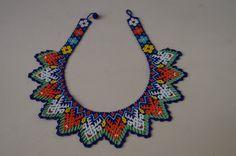 Huichol Necklace Beaded Multicolor Mexican Folk Art Mexico Hippy New Culture | eBay