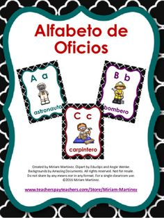 This is a set of 29 posters, one for each letter of the Spanish alphabet, illustrated with different jobs and community helpers. It contains the 27 letters acknowledged by the Real Academia Espaola, but I also included Ch and Ll although they are no longer recognized as letters of the Spanish alphabet.
