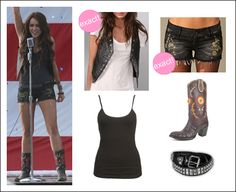 Miley Party in the USA outfit. Short and boots are soo cute.