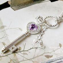 gratis verzending purple heart met strass cirkel zilveren sleutel hanger lange trui ketting nieuwe(China (Mainland))