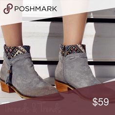Willow Grey Printed Cuff Booties Willow grey distressed faux suede printed cuff booties. Featuring side zipper closure and tassel detail. So unique, we're loving these booties. Threads & Trends Shoes Ankle Boots & Booties