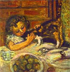 Painting by  Pierre Bonnard, 1899, Little Girl with a Cat,  Private Collection.