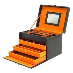 Schmuckkoffer klein zweifarbig aus Synthetik, verschiedene Farben