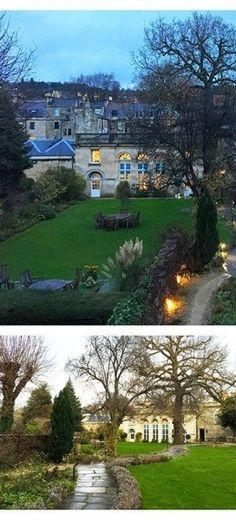 Views of the gardens at The Royal Crescent Hotel & Spa, Bath, England- and if these gardens were this lovely in winter, I can only imagine what summer sunsets would be like!