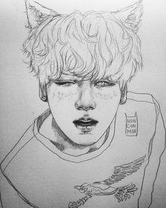 bts art/bangtan boys dibujos a lápiz, bts dibujo Boy Sketch, Kpop Drawings, Kpop Fanart, Pretty Art, Traditional Art, Love Art, Drawing Sketches, Art Inspo, Character Design