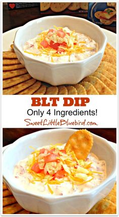 BLT DIP Just 4 ingredients- Bacon, Cheese, Mayo, & Sour Cream I also occasionally like to add an hard boiled egg OR a handful of fresh scallions (not both tho😜)  This is delicious with crackers. Chips seem to be too crumbly Vinaigrette, Easy Appetizer Dips, Appetizers For Party, Appetizer Recipes, Snack Recipes, Cooking Recipes, Tailgating Recipes, Tailgate Food, Cookbook Recipes