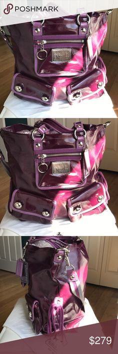 "COACH ""POPPY"" PURPLE PATENT BAG This bag is A M A Z I N G!! Color. Pockets. Tags. Side ties. Shoulder strap. Key retainer in the front. Beautiful internal pink linen. Silver accents throughout. Grey fabric combined with purple on the detachable shoulder strap. Two-tone purple color outlines the pockets and the sides. Two tags purple and clear purple glitter. 14""L 13""H 5""D 7"" handle 13.5""shoulder 🚫Trades. Satin dust bag included. Coach Bags"