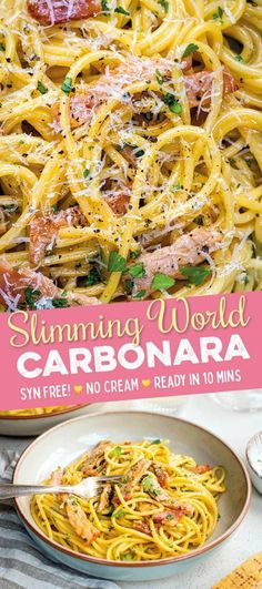 This Slimming World Carbonara is super easy, uses just a handful of ingredients . - Slimming World recipes - Pasta Slimming World Vegetarian Recipes, Slimming World Dinners, Slimming Eats, Healthy Recipes, Slimming World Lunch Ideas, Slow Cooker Recipes Cheap, Slow Cooker Sausage Recipes, Oven Recipes, Cookbook Recipes